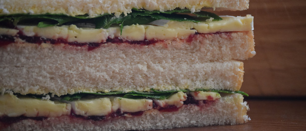 Brie, Cranberry and Spinach Sandwich