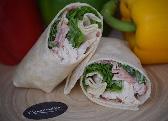 Chicken, Smoked Bacon, Caesar and Lettuce in a Tortilla Wrap