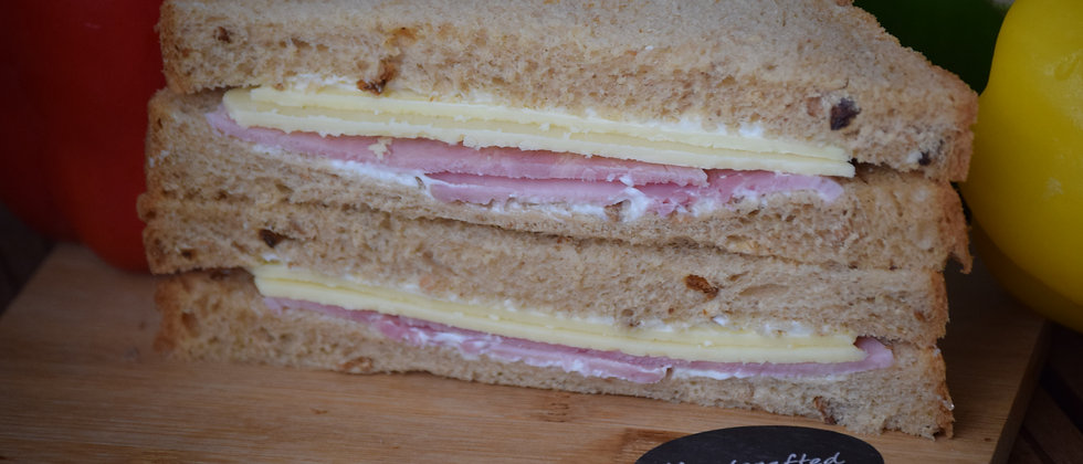 Mature Cheddar, Gammon Ham & Mayo on Malted Wheat
