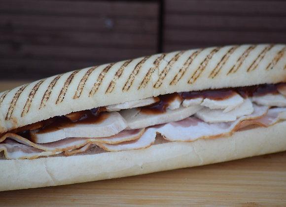 Smoked Bacon, Chicken & BBQ Sauce Grilled Panini