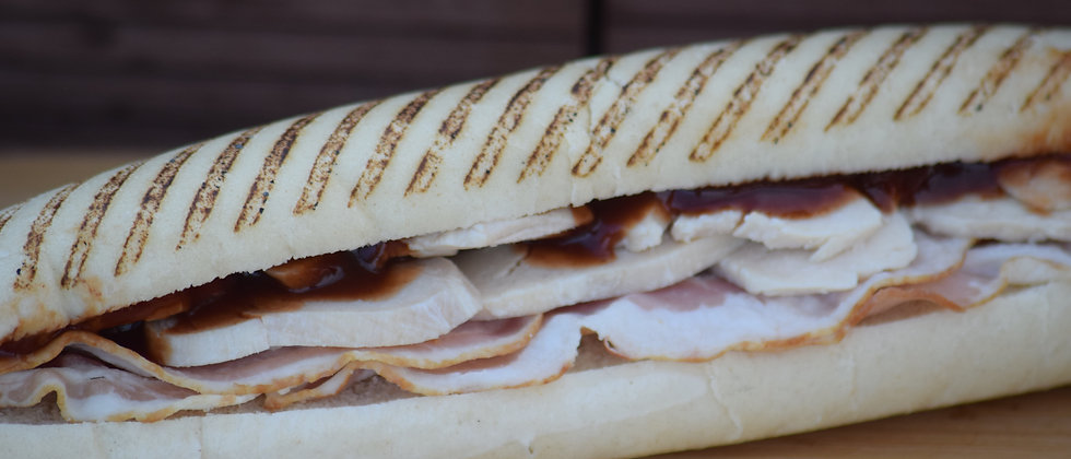 Smoked Bacon, Chicken & BBQ Sauce Grilled Panini (s&c)