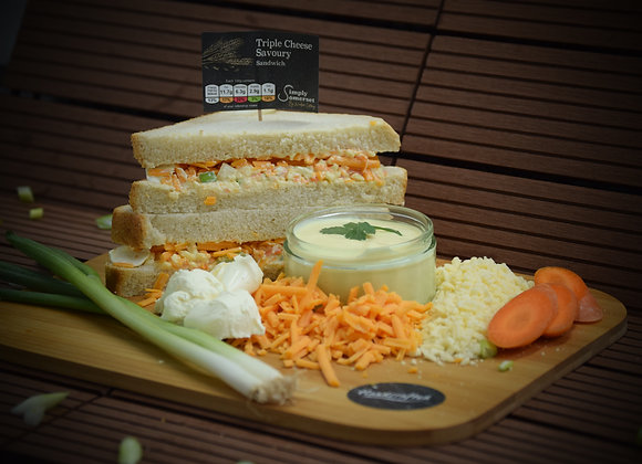 Triple Cheese, Carrot & spring onion Savoury On Malted Wheat
