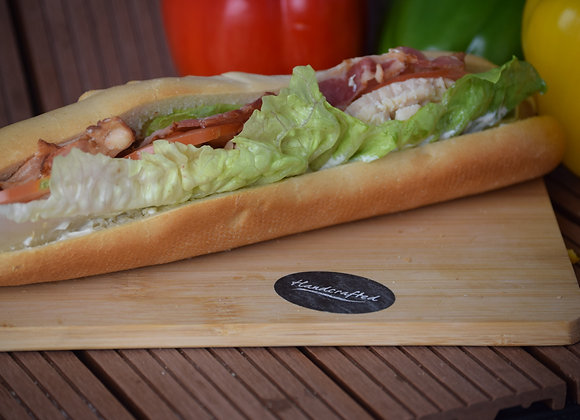 Chicken, Bacon, Mayo with Lettuce and Tomato on a White Baguette
