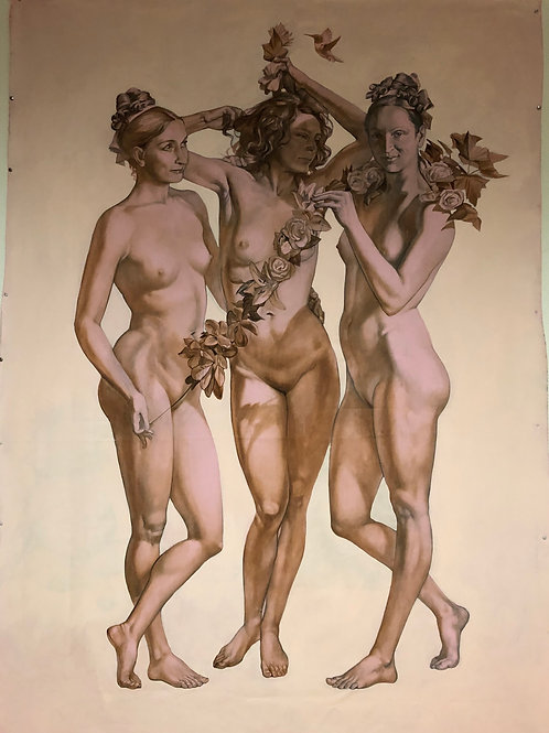 Three Graces large oil painting on canvas