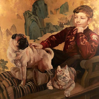Young Boy with Pets
