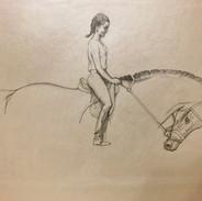 Equestrian portait, pencil on paper.