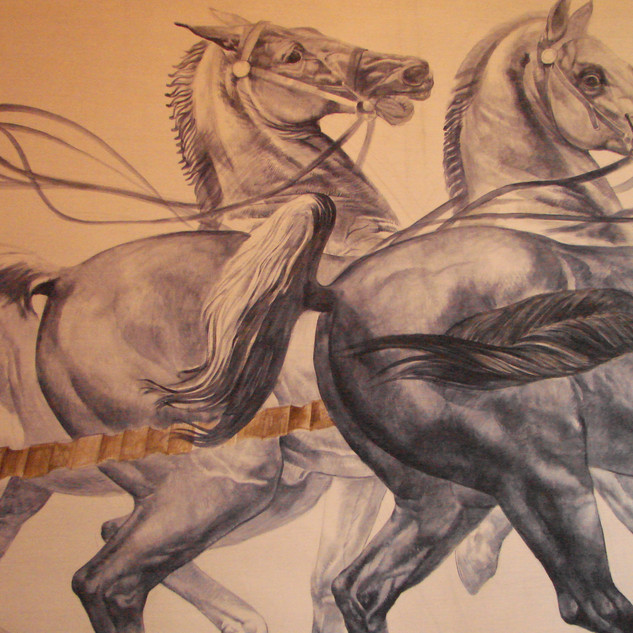 Ceiling Painting of horses drawing charriot