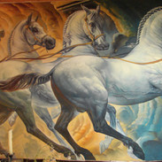 Interior wall painting of horses on canvas.