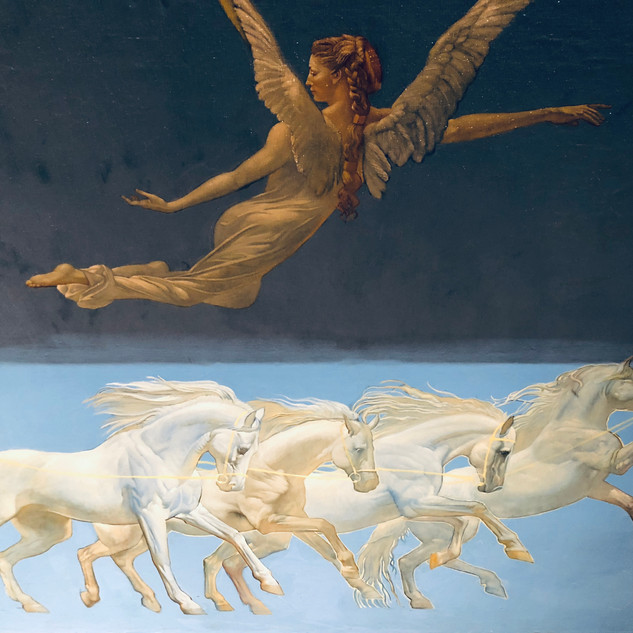 White horses ceiling painting on canvas.
