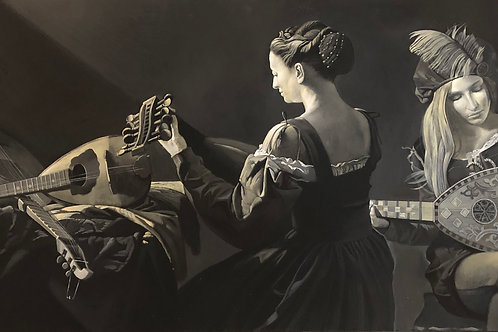 Lute Players, Black and White Acrylic Painting