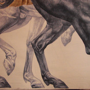 Detail of ceiling painting of horses.