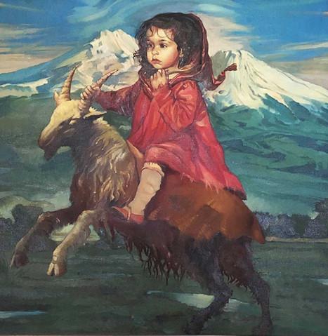 Little Girl on Goat