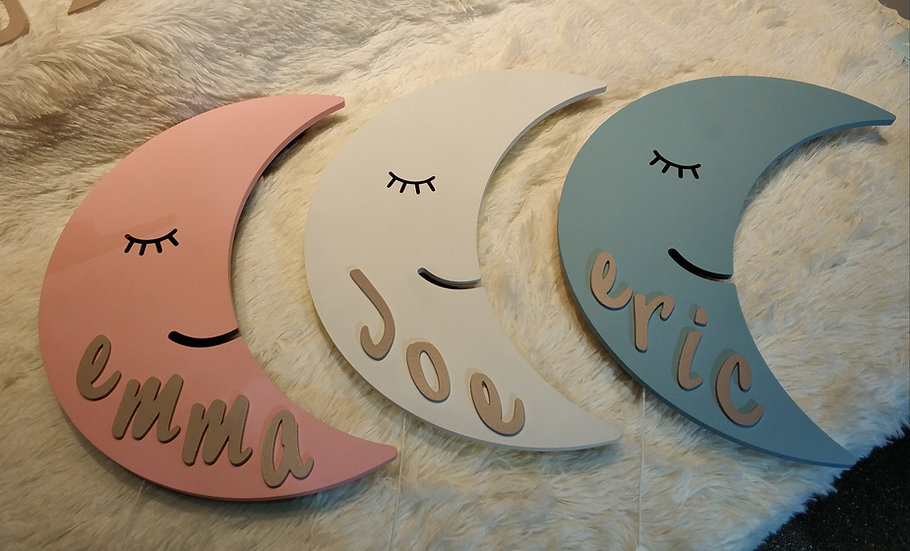 Personalized / Customized Wooden Moon Wall Light