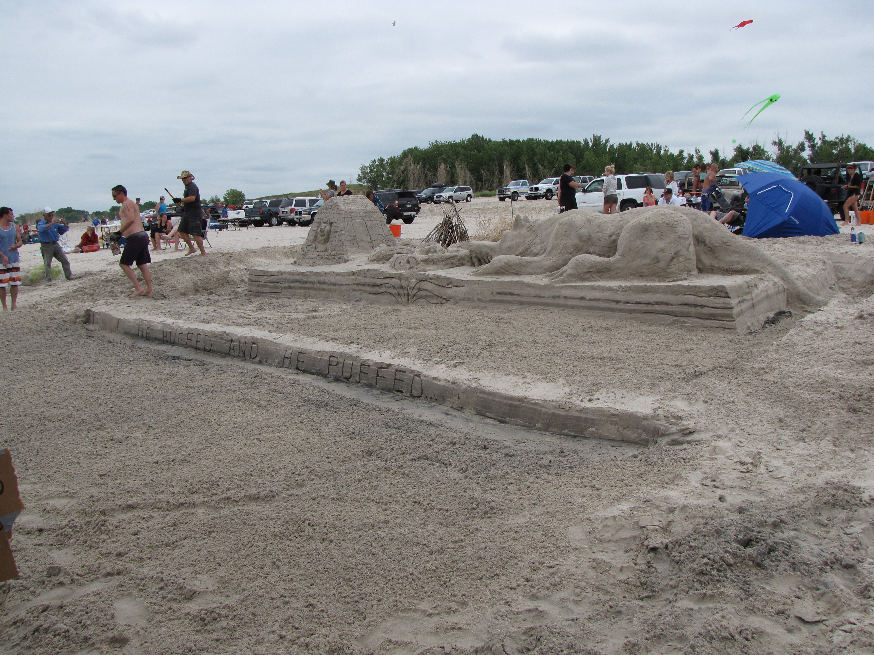 sandcastle competition while camping on lake mcConaughy