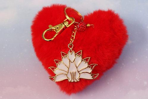 Fire Fox Charm w/ Heart Pom