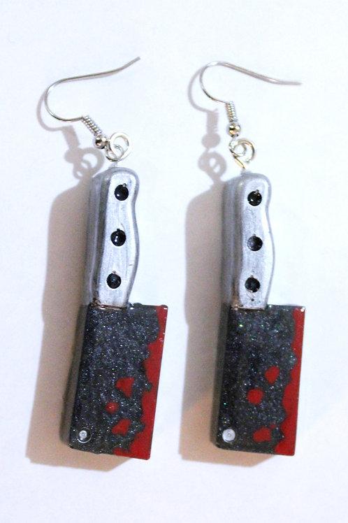 Black Kimo-Kawaii Cleaver Earrings