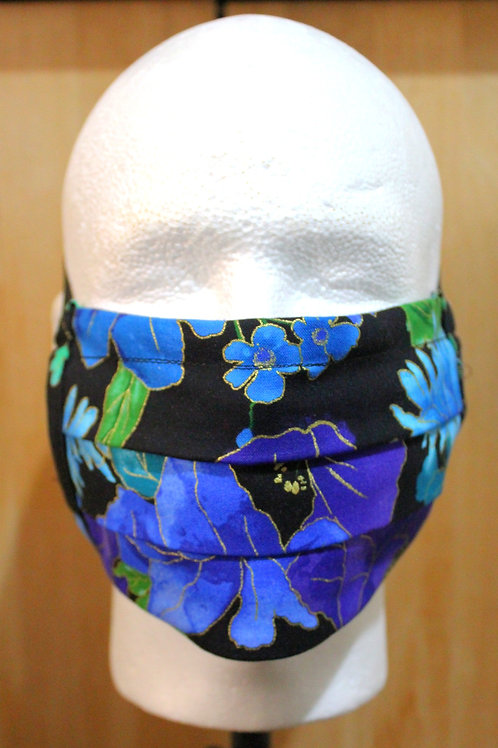 Royal Blue Flower Cloth Mask