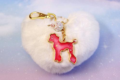 Pink Poodle Charm w/ Heart Pom