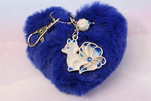 Blue Flame Fox Charm w/ Heart Pom