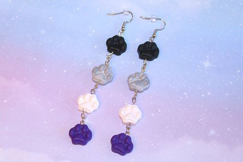 Ace Pride Paw Print Earrings