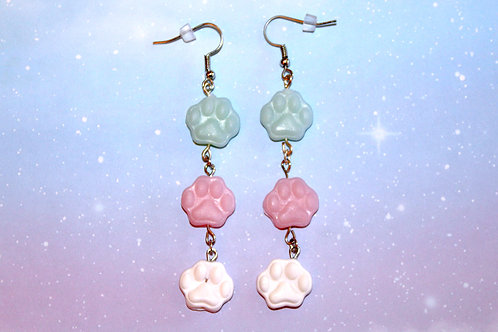Trans Pride Paw Print Earrings