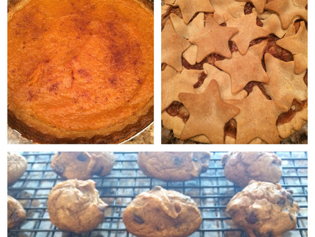 Healthier Home-made Apple Pie, Pumpkin Pie and Pumpkin Chocolate Chip Cookies!!