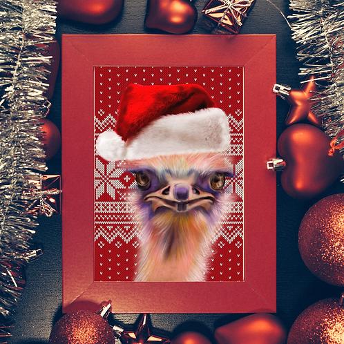 Christmas Ostrich- Print