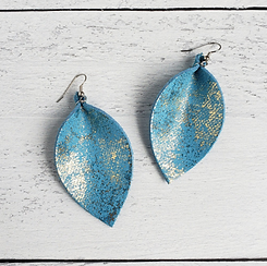 Blue Gold Dust Pinched Leather Earrings.