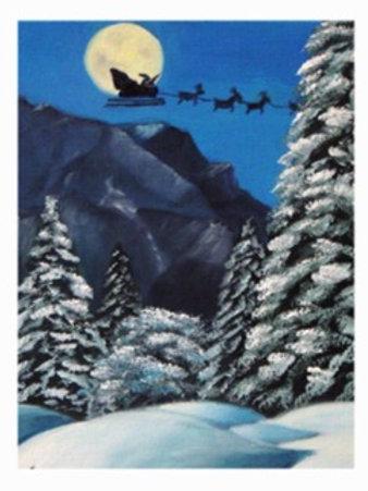 Santa and His Sleigh- Card