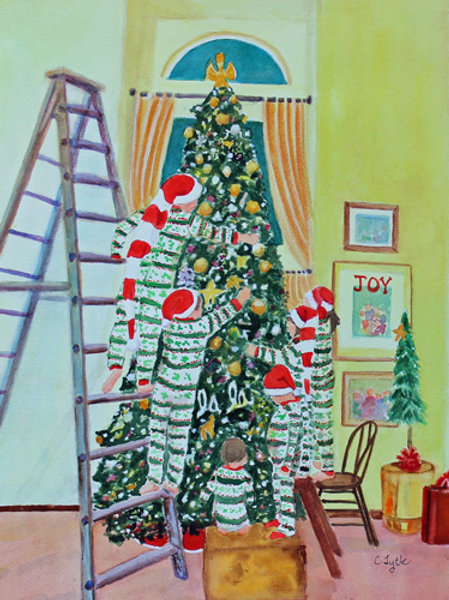 Decorating the Christmas Tree- Card