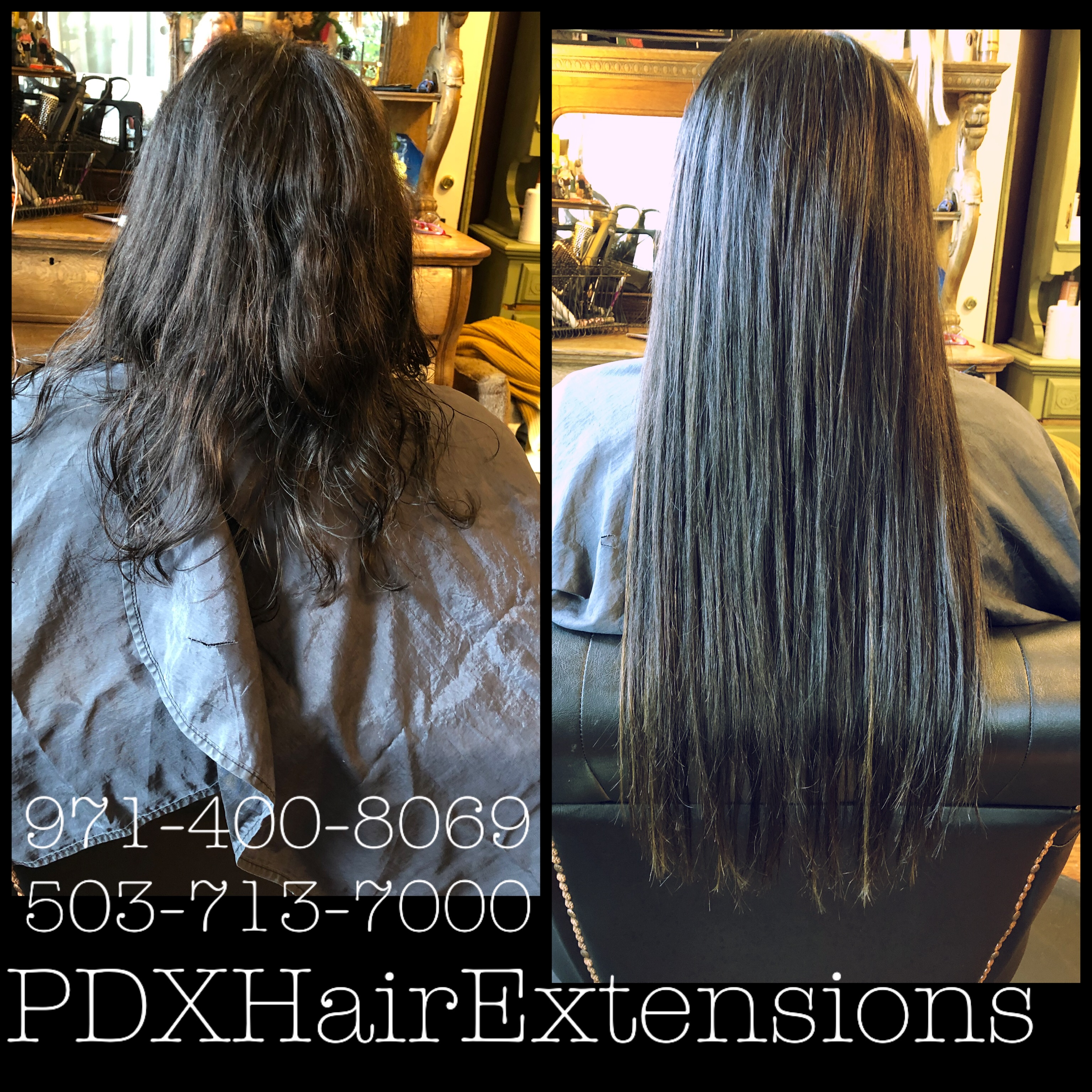 Before & After: Brunette Extensions