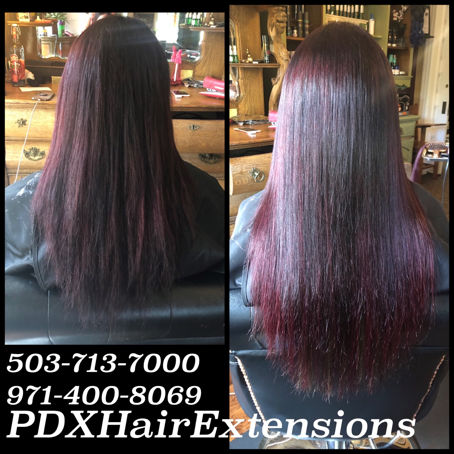 Plum Brunette Color & Extensions