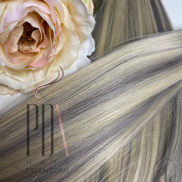 60_silver, Silver Blonde PDX Hair Extens