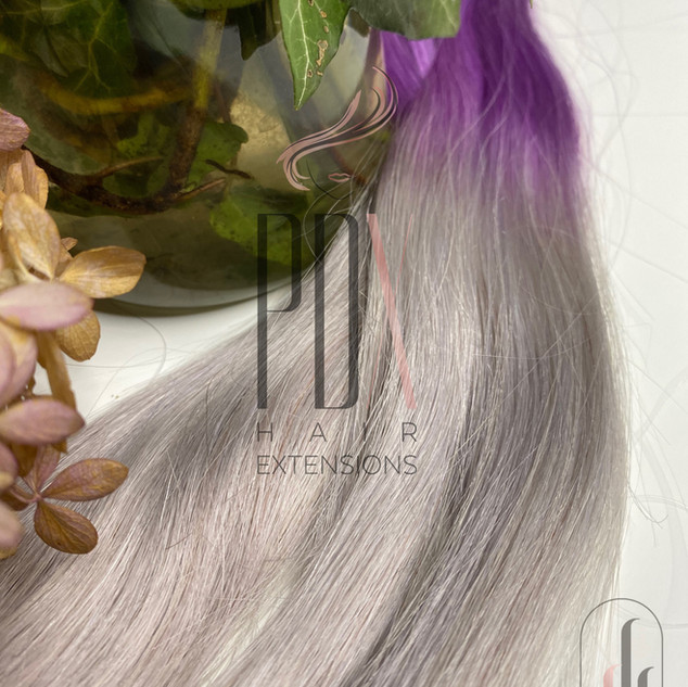 PDX Hair Extensions lavender_silver ombr