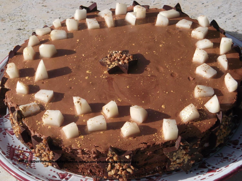 Gâteau aux poires mousse au chocolat