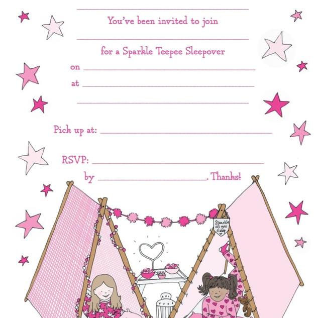 Sparkle Sleepover Girls Invitations