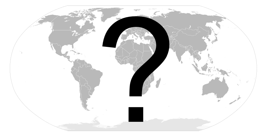 A question mark over a map of the world from Wiki Creative Commons attributed to user Connormah