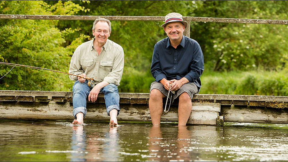 Paul Whitehouse and Bob Mortimer in BBC publicity photo for their series 'Mortimer & Whitehouse: Gone Fishing'