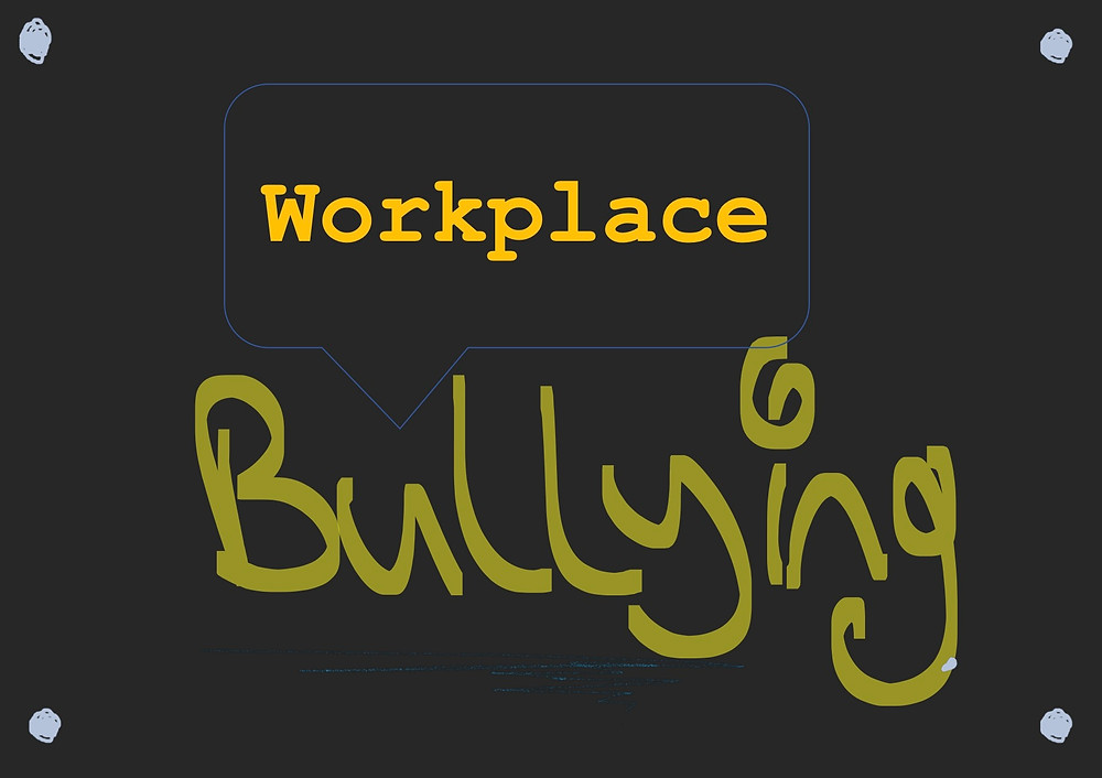 A logo about workplace bullying on a black background