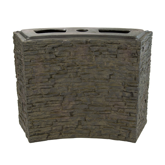 Large Curved Stacked Slate Wall Base