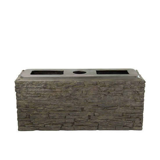 Small Straight Stacked Slate Wall Base