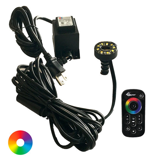 Submersible LED Color-Changing Fountain Light Kit with Transformer and Remote Co