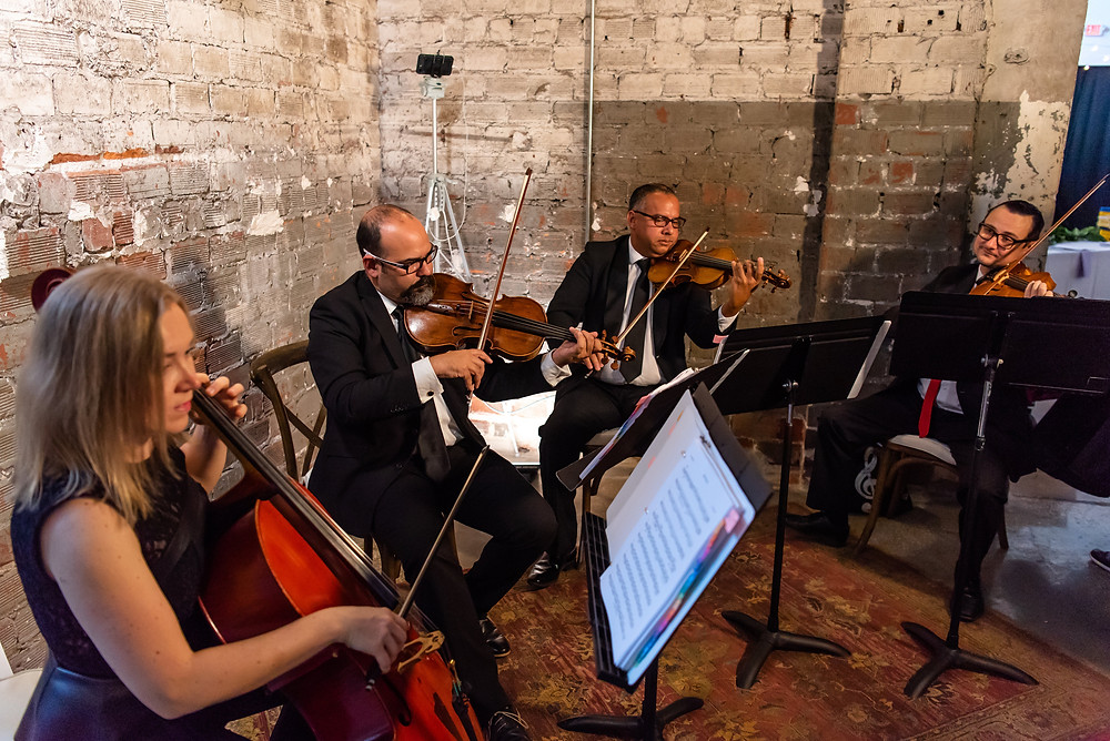 A string quartet performing live music for a wedding ceremony and cocktail hour in Tampa, FL