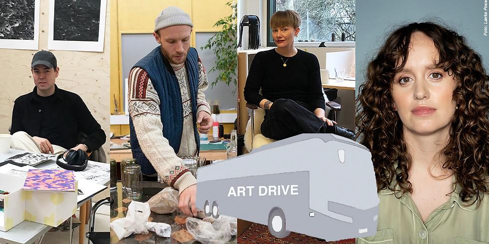 ART DRIVE # 1: BIRK BJØRLO, LEA GULDDITTE HESTELUND & RUNE BOSSE m. oplæsning i bussen v. OLGA RAVN