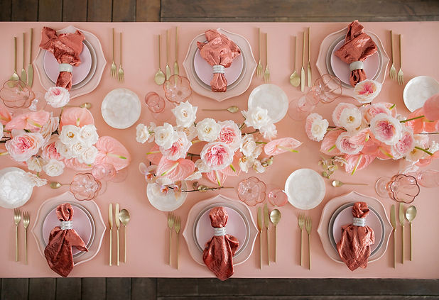 Festive table decor. In pastel pink colo
