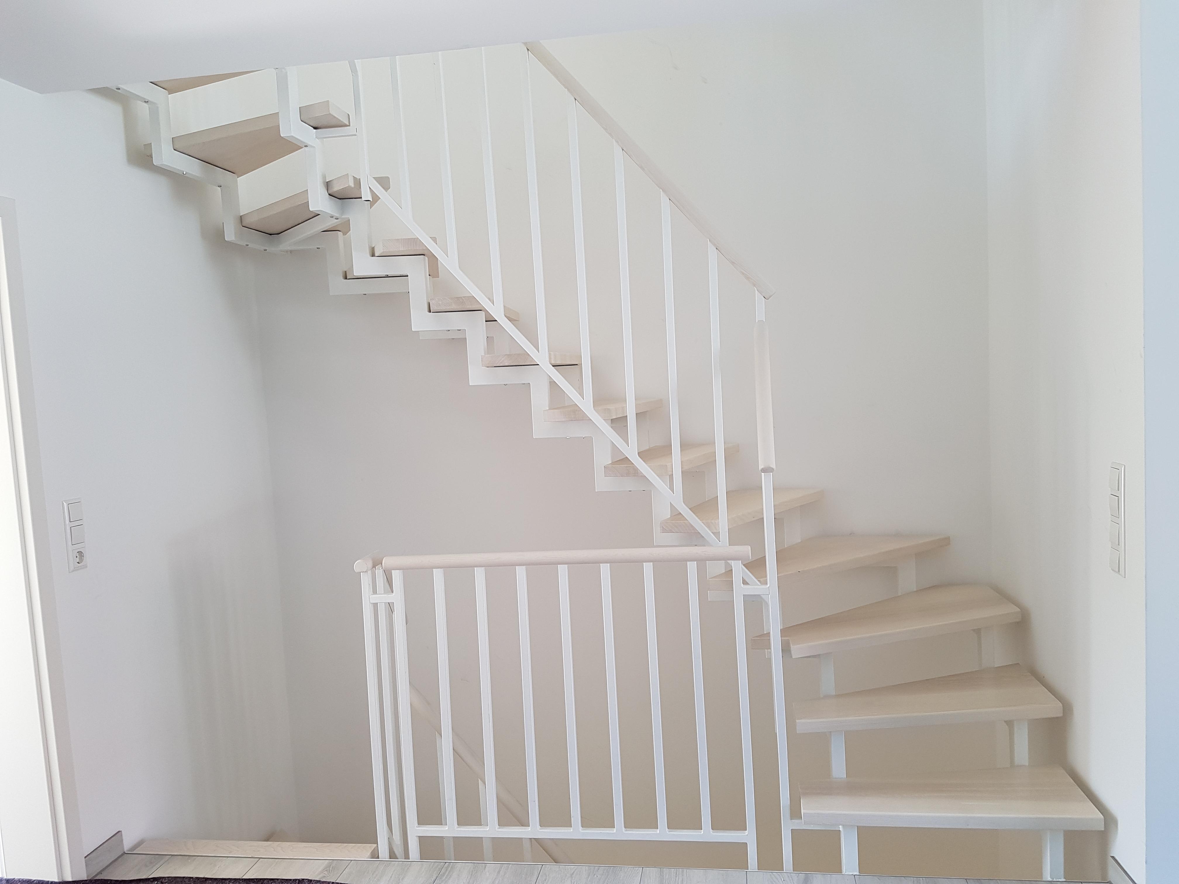 Systemgeländer Stufen Esche weiß