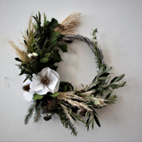 White Paper Flower Wreath