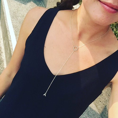 Twisted Circle Necklace with Moon Charm