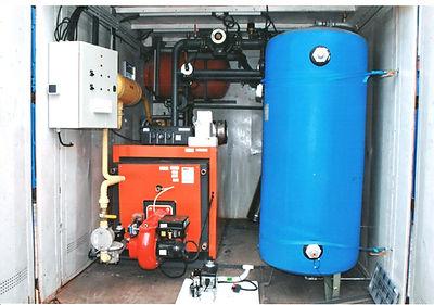Conteneur chaufferie gaz + eau chaude + echangeur a plaques + ballon tampon