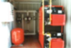 Conteneur chaufferie gaz avec 2 chaudières supperposées